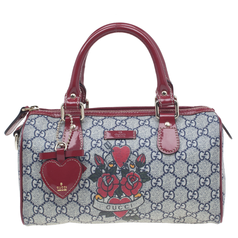 Gucci Red Leather Trim GG Coated Canvas Heart Tattoo Small Boston Bag