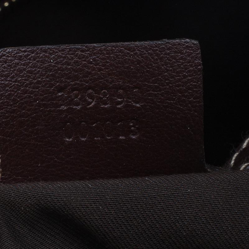 Gucci Brown Monogram Canvas and Leather Medium Horsebit Nail Bag