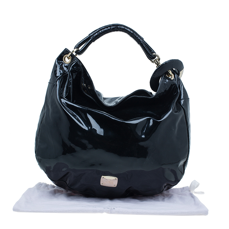 Jimmy Choo Black Patent Leather Large Sky Bangle Hobo