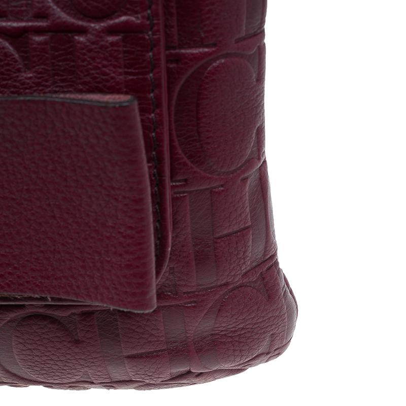 Carolina Herrera Burgundy Leather Holly Shoulder Bag