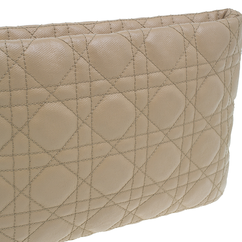 Dior Beige Coated Canvas Quilted Cannage Panarea Clutch