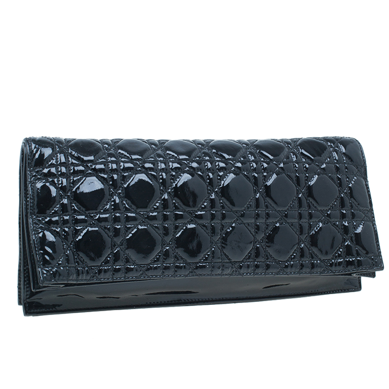 Dior Black Patent Leather Quilted Cannage Folded Clutch