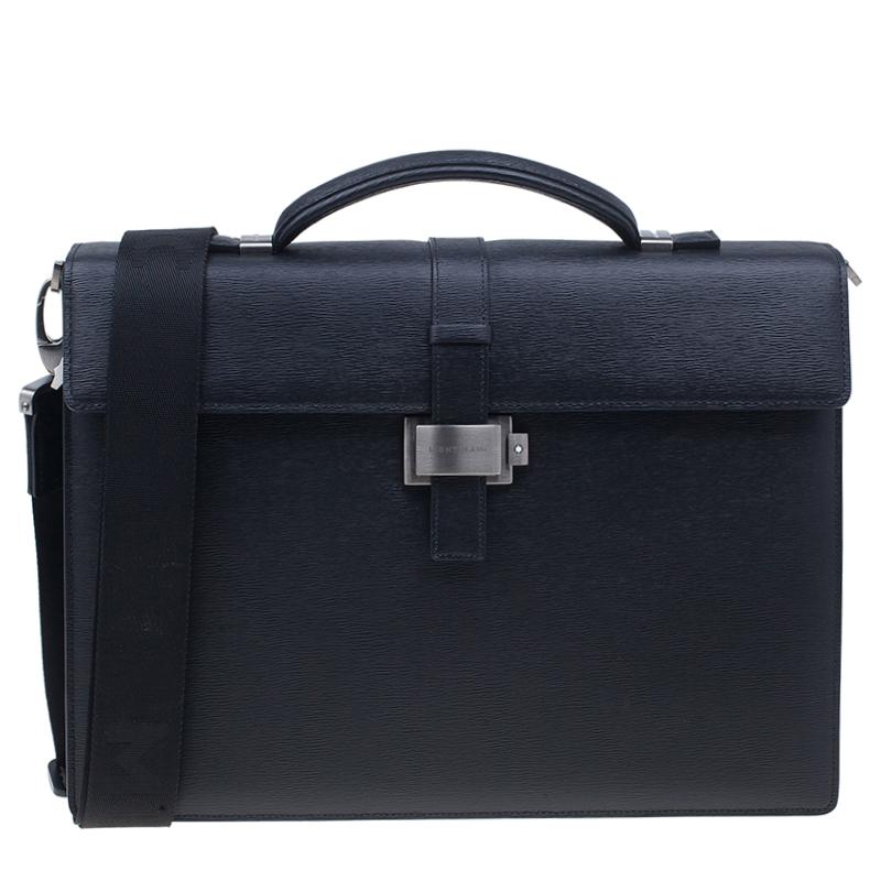Montblanc Black Leather Westside Single Gusset Briefcase