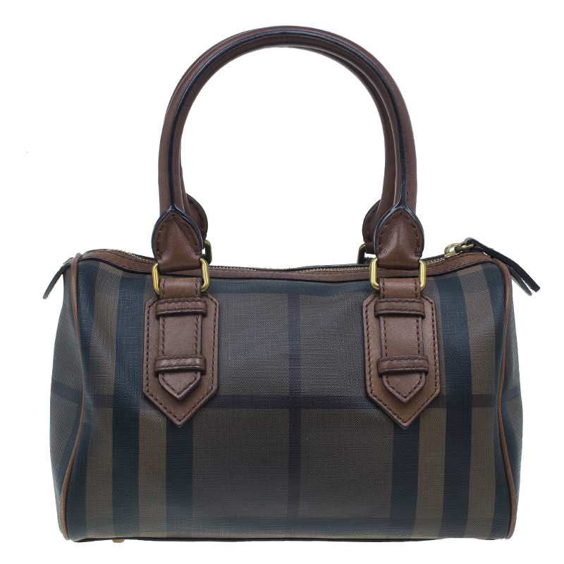 Burberry Brown Nova Check Leather Boston Bag