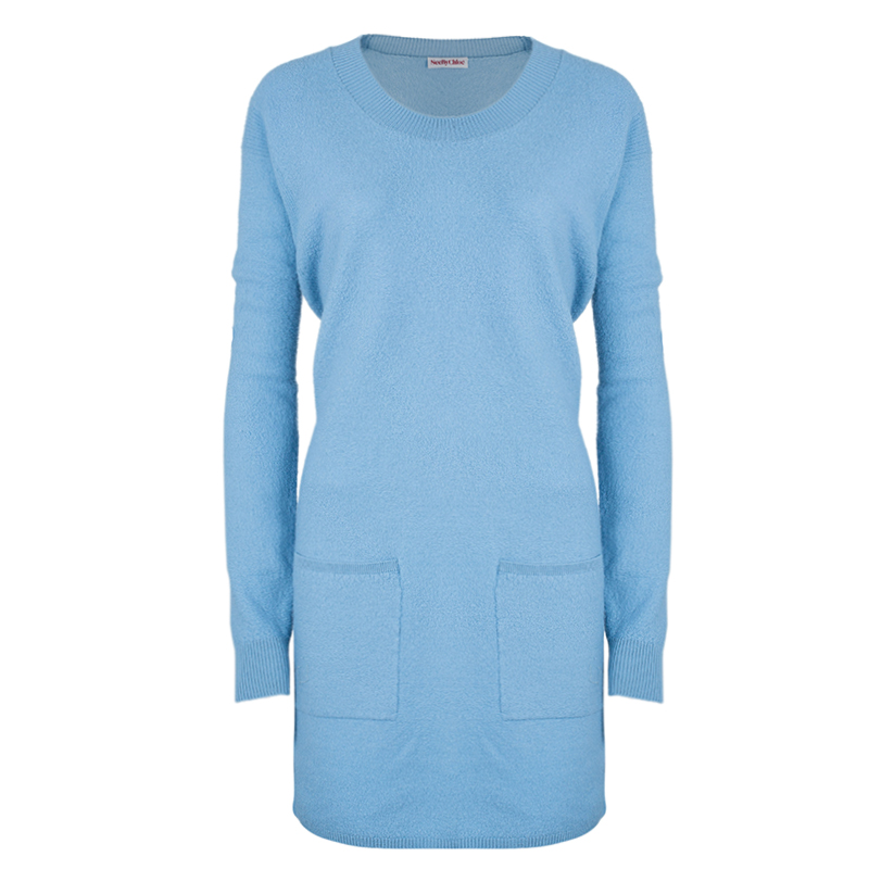 See by Chloe Blue Pocket Wool Sweater Dress L