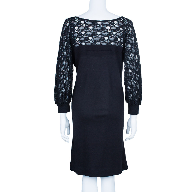 See by Chloe Black Lace Cotton Dress M