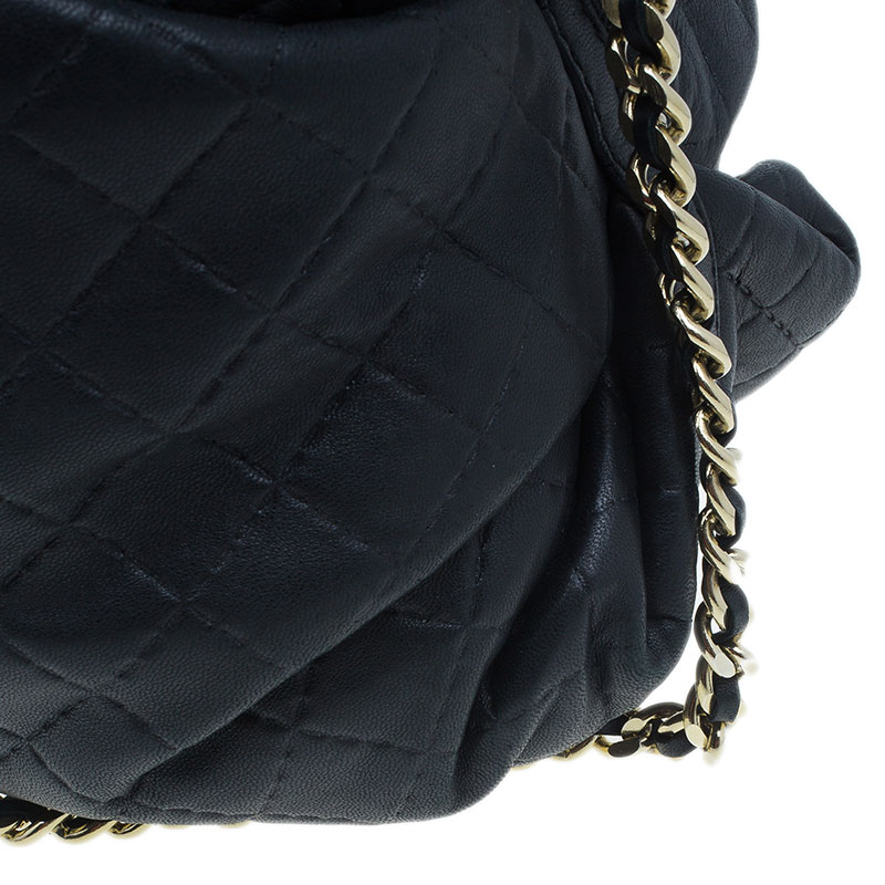 Carolina Herrera Black Leather Quilted Chain Satchel