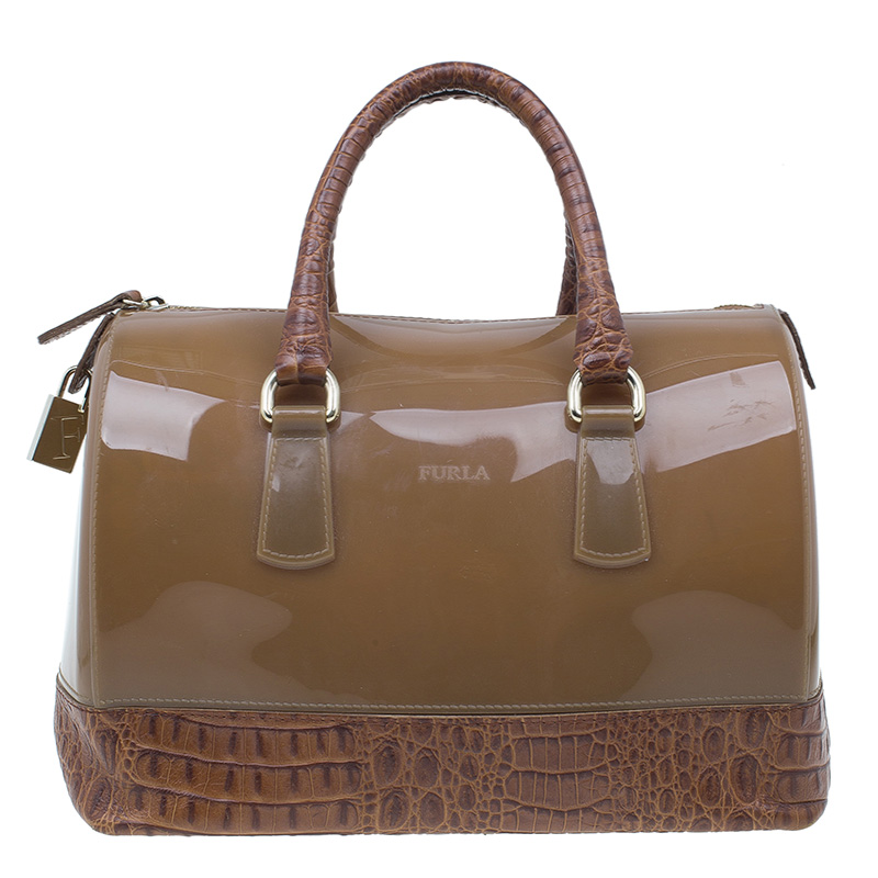 Furla Brown Rubber Candy Croco Satchel