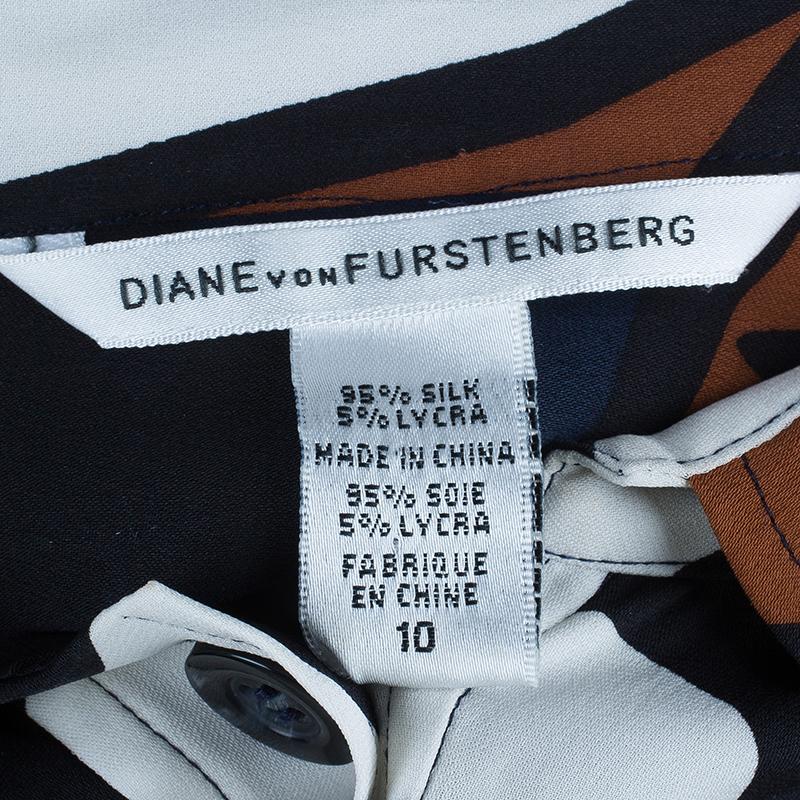 Diane Von Furstenberg Sheena Multicolor Silk Shirt Dress L
