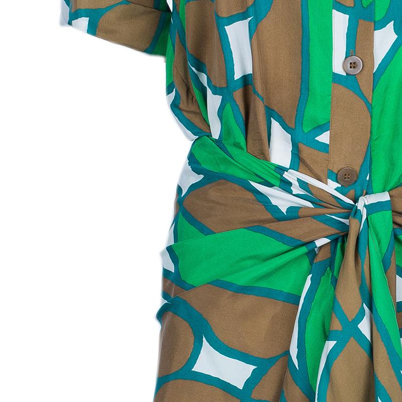 Diane Von Furstenberg Huahine Multicolor Shirt Knot Detail Dress L