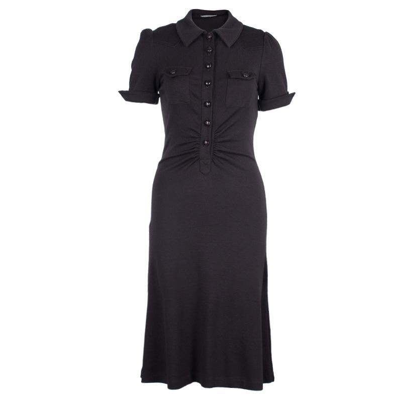 Diane Von Furstenberg Brown Wool Shirt Dress M