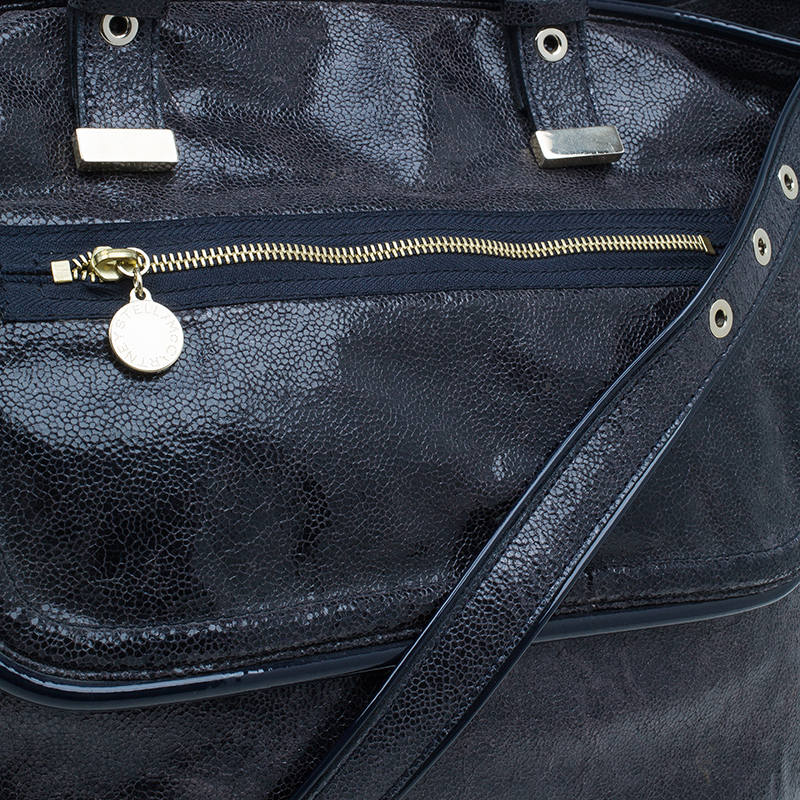 Stella McCartney Navy Blue Crackled Leather Tote