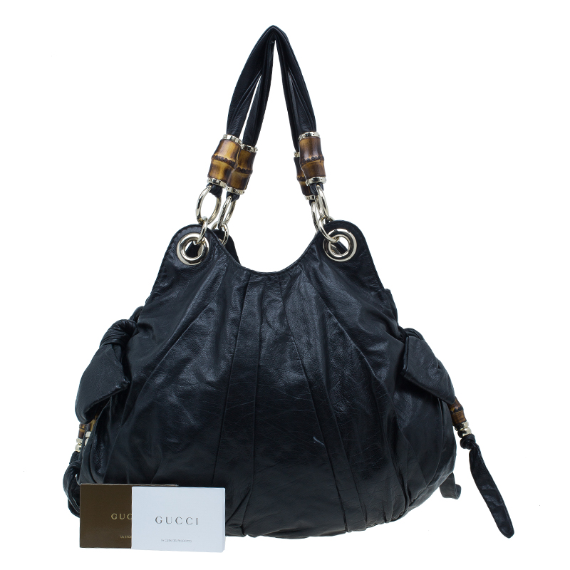 Gucci Black Soft Leather Bamboo Tassel Hobo