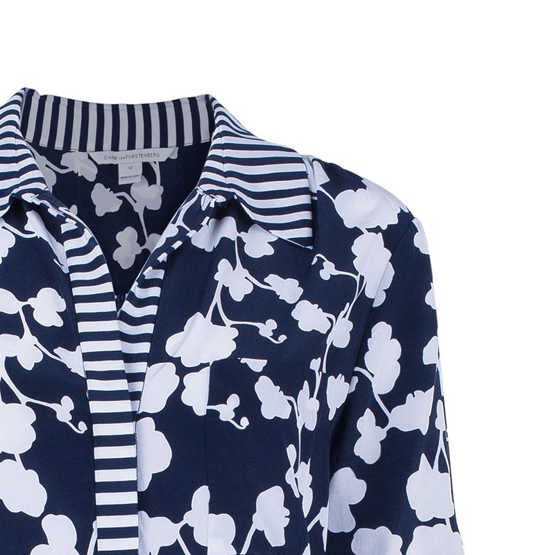 Diane Von Furstenberg Lorelei Orchid Print Silk Shirt L