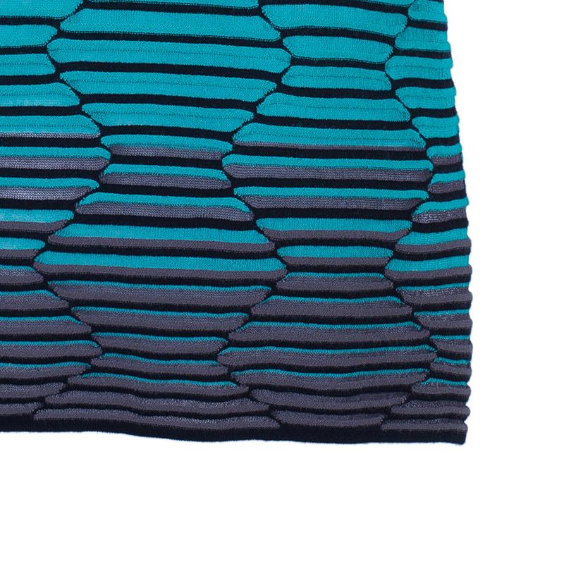 M Missoni Blue Tonal Crochet Knit Top L