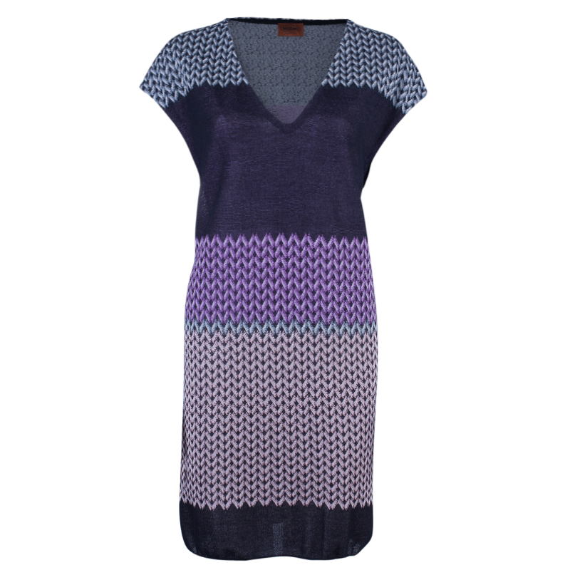 Missoni Purple Printed Crochet Knit Mini Dress L