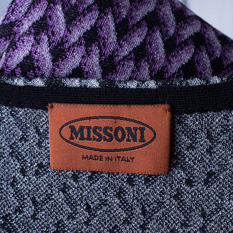 Missoni Purple Printed Crochet Knit Mini Dress L