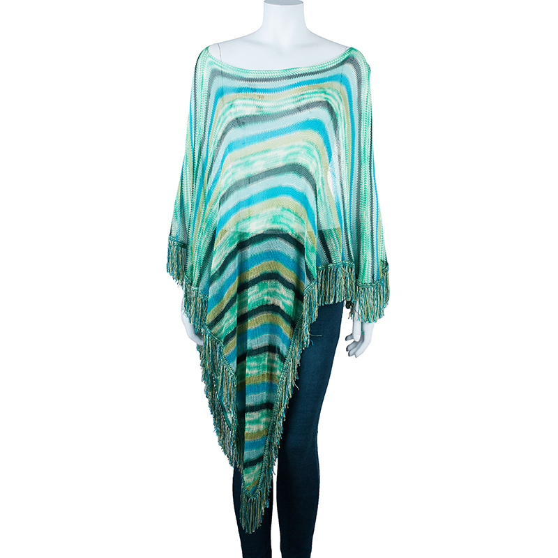 Missoni Blue Striped Knit Fringed Poncho OS