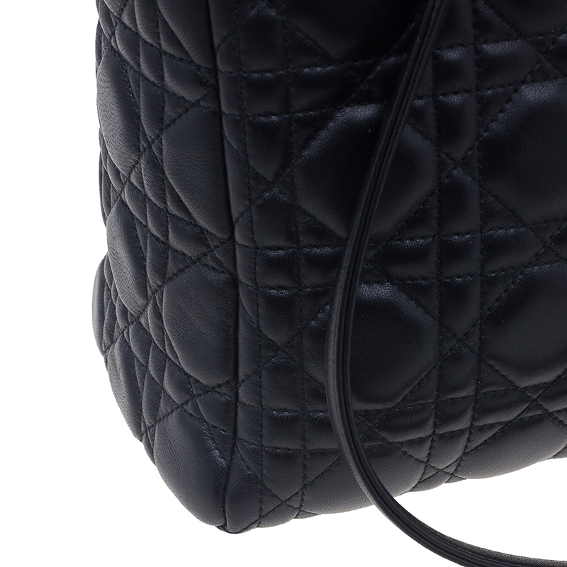 Dior Black Quilted Lambskin Medium Lady Dior Cannage Tote Bag