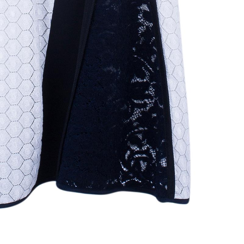 Derek Lam Mixed Lace And Jersey Crepe Paneled Dress M