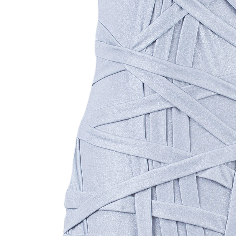 Tadashi Shoji Metallic Gold Paneled One-Shoulder Dress M