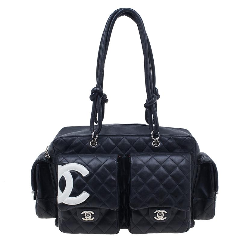 Chanel Black Lambskin Reporter Bag
