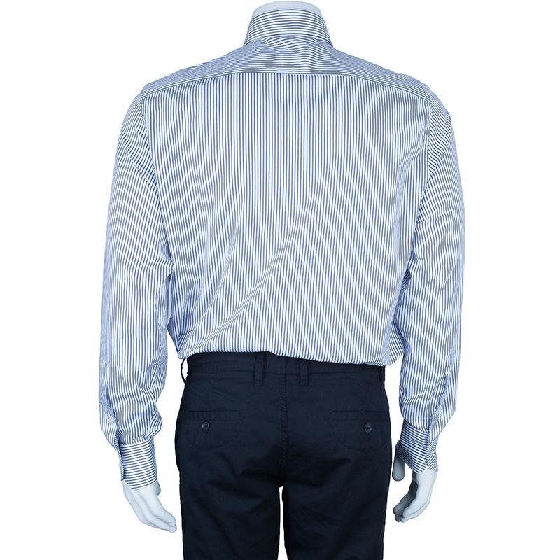 Ermenegildo Zegna Monochrome Pinstripe Formal Shirt L