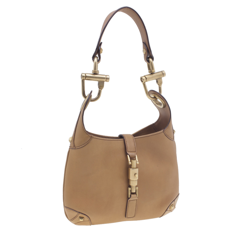 Gucci Brown Leather Nailhead Small  Jackie Hobo