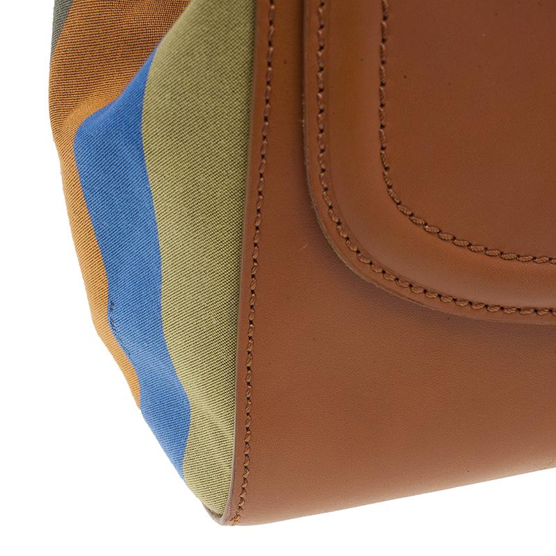 Fendi Brown Leather 'Silvana' Top Handle Satchel