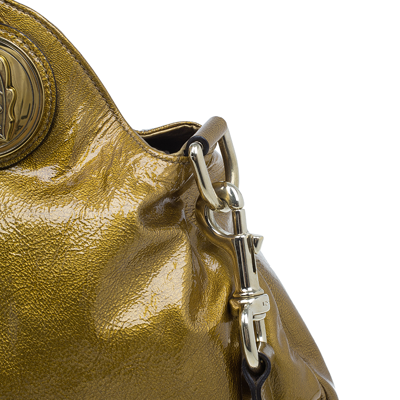 Gucci Gold Patent Medium Hysteria Hobo