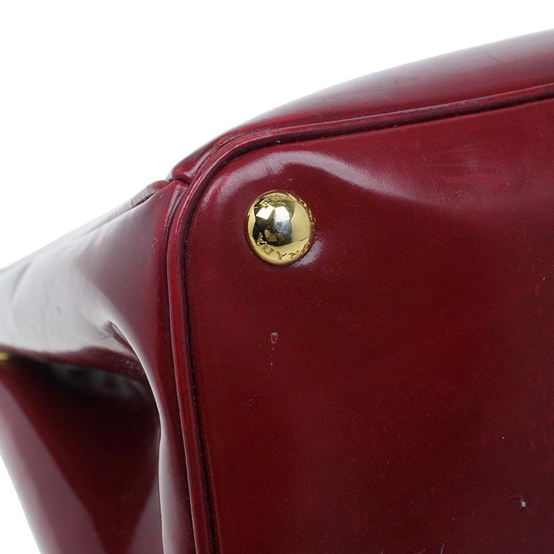 Prada Scarlet Patent Leather Spazzolato Lux Tote