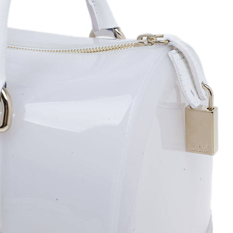 Furla White Rubber Candy Satchel