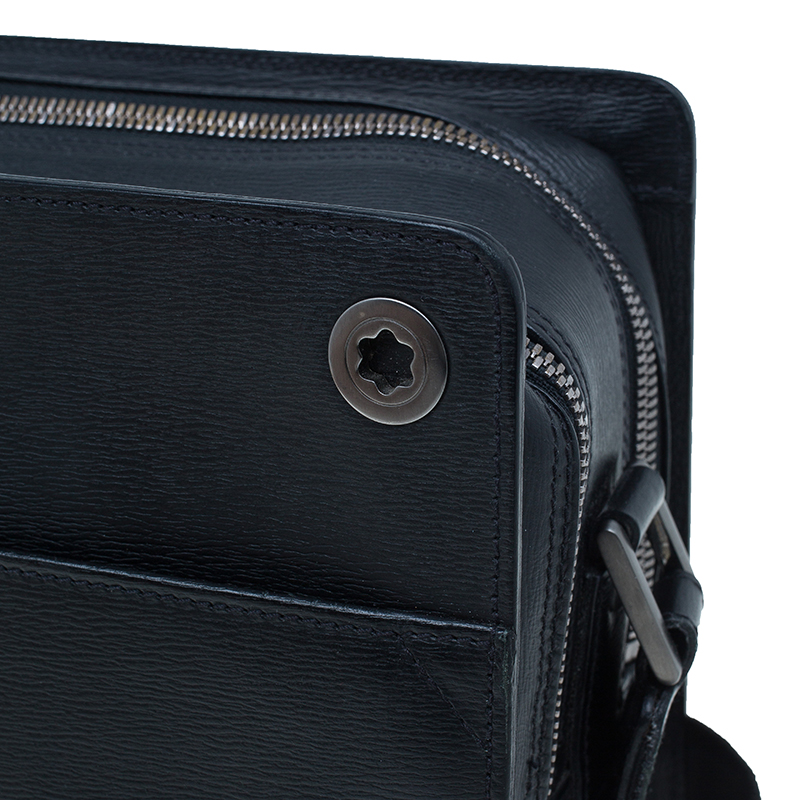 Montblanc Black Leather Messenger Bag