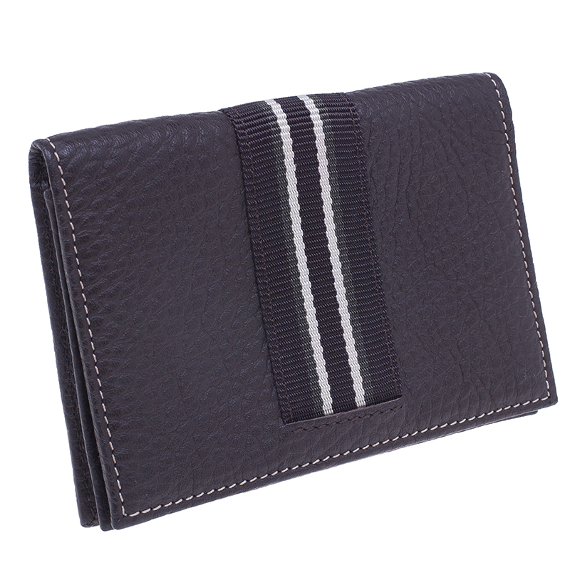 Dunhill Brown Leather Stripe Long Wallet with Card Holder