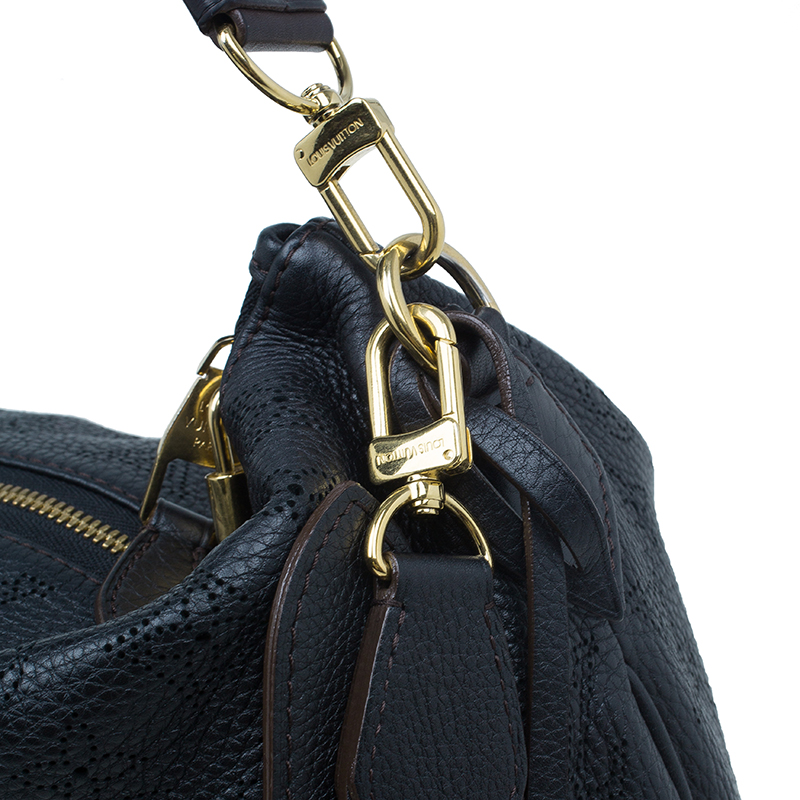 Louis Vuitton Black Monogram Mahina Leather Selene MM
