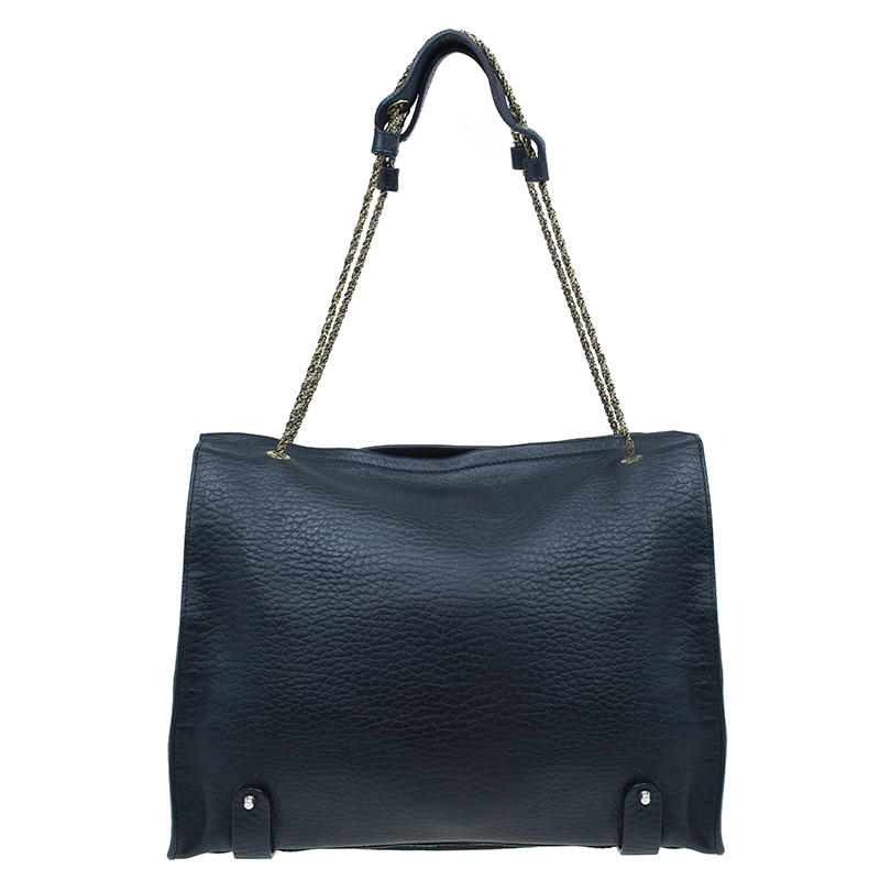 Chloe Black Leather Front Pocket Sally Tote