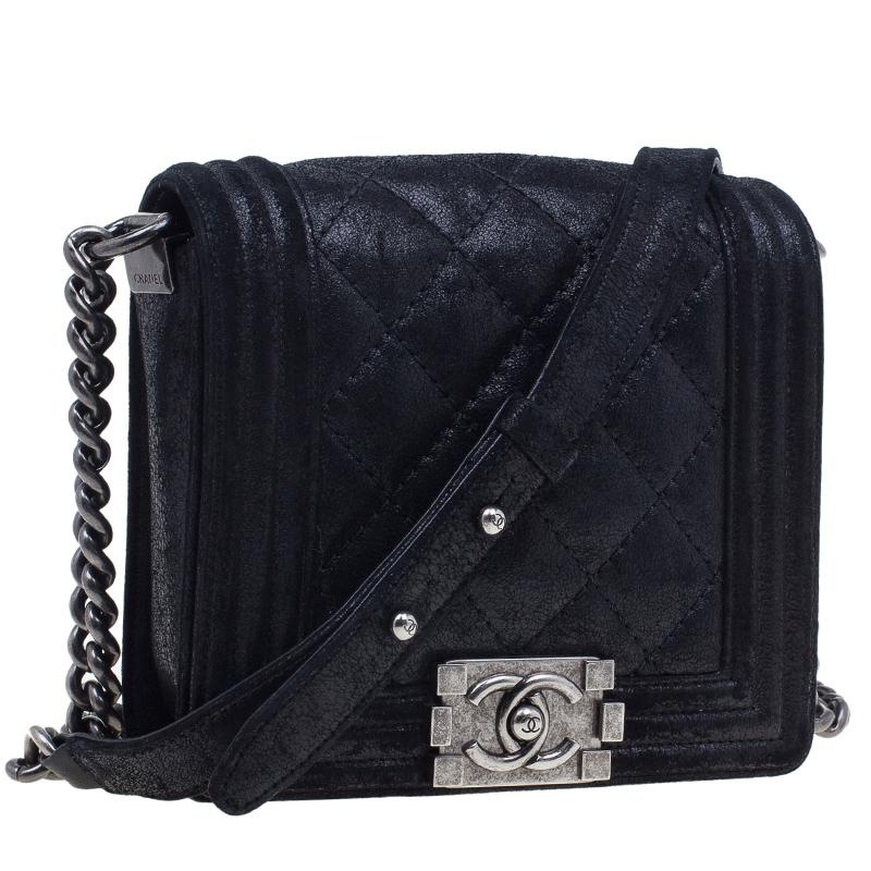 Chanel Black Iridescent Suede Calf Square Boy Bag