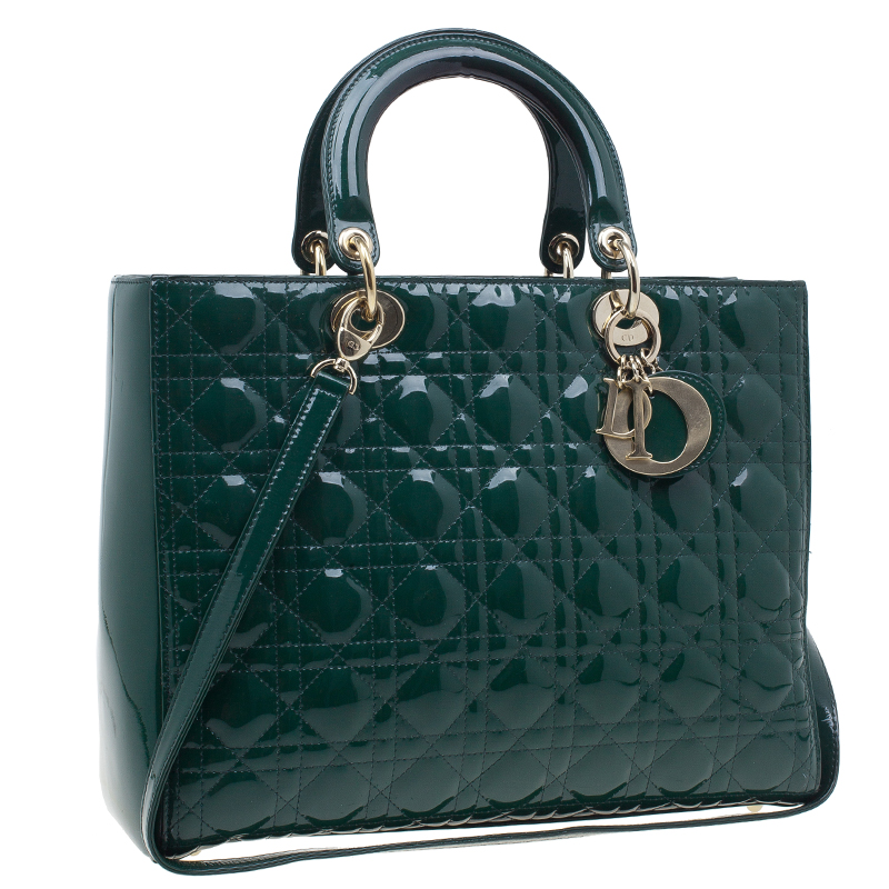 Dior Green Patent Leather Large Lady Dior Bag