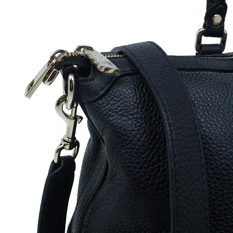 Gucci Black Leather Vintage Web Top Handle Bag