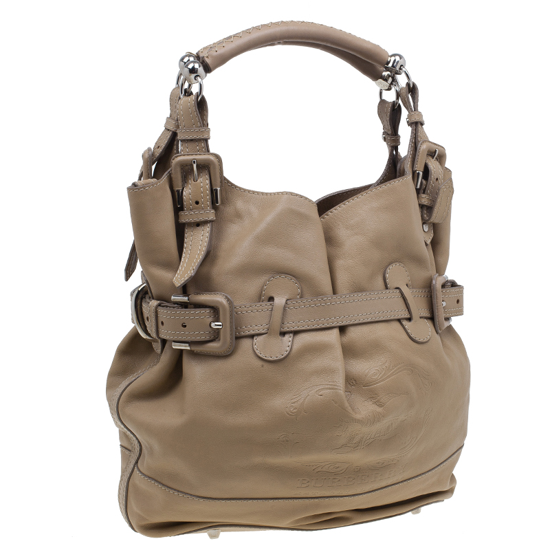 Burberry Beige Leather Bridle Tote