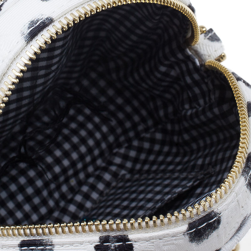 Dolce and Gabbana Graphic Polka Dot Fabric Brocade Round Glam Crossbody