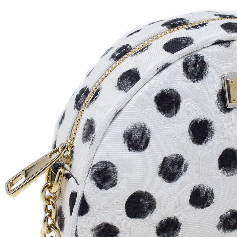 Dolce and Gabbana Graphic Polka Dot Fabric Brocade Round Glam Crossbody