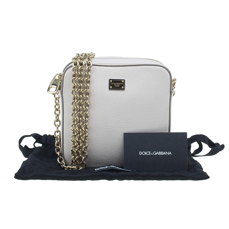 Dolce And Gabbana Beige Leather Crossbody Chain Bag