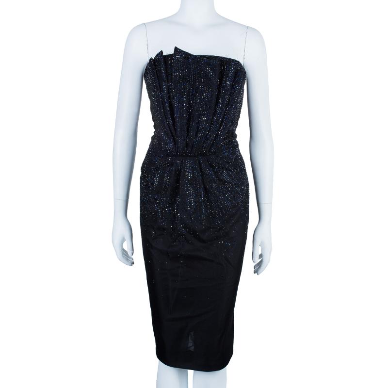 Giorgio Armani Swarovski Embellished Pleated Cocktail Dress M