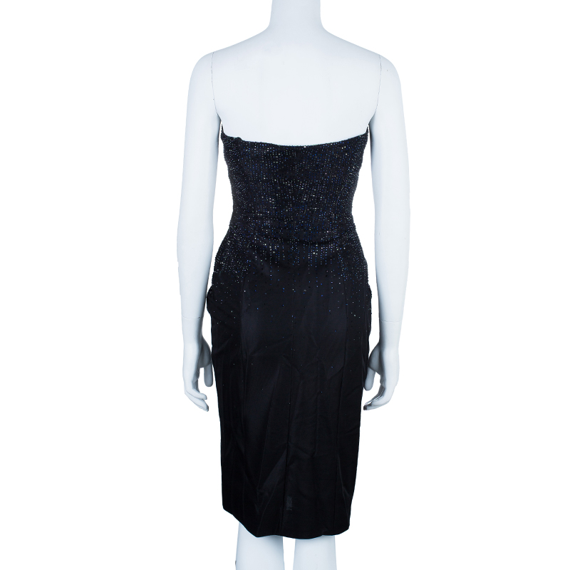 Giorgio Armani Swarovski Embellished Pleated Cocktail Dress M