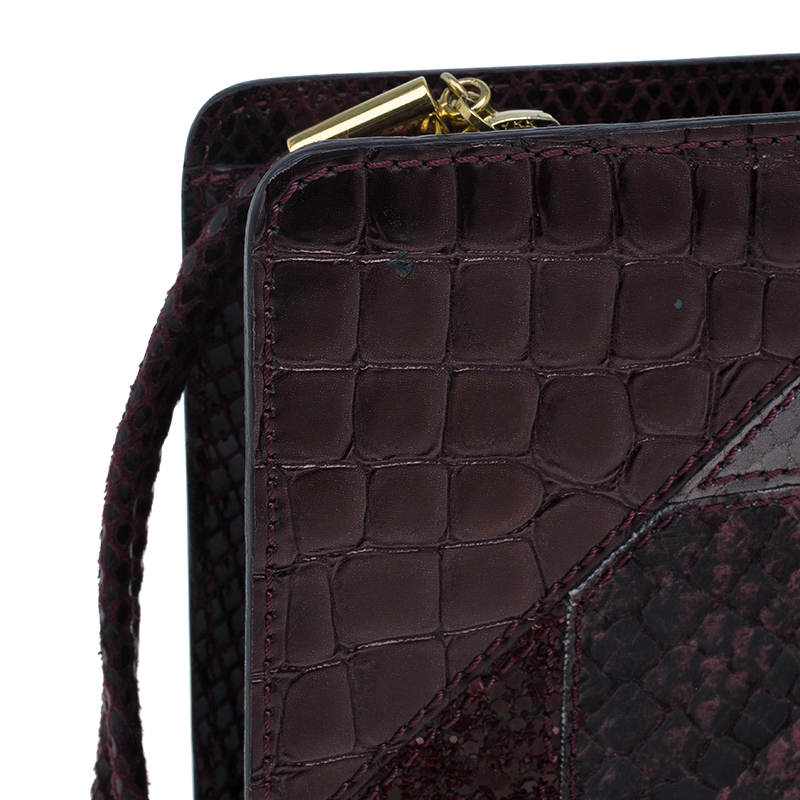 Stella McCartney Burgundy Embossed Patchwork Clutch