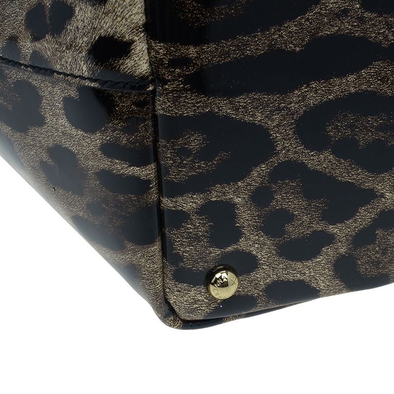 Dolce and Gabbana Leopard Print Leather Miss Escape Tote Bag