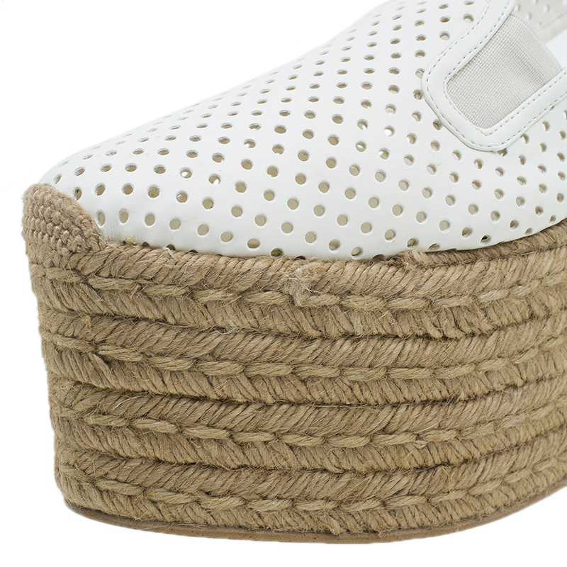 Stella McCartney White Faux Leather Wedge Espadrilles Size 40