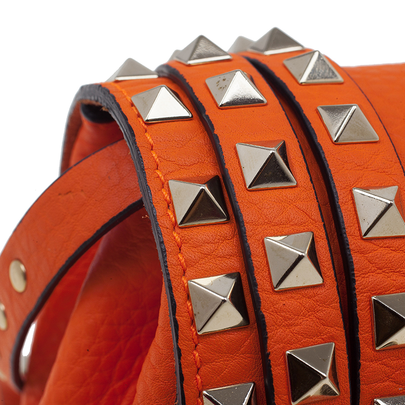 Valentino Orange Leather Small Rockstud Flap Crossbody Bag