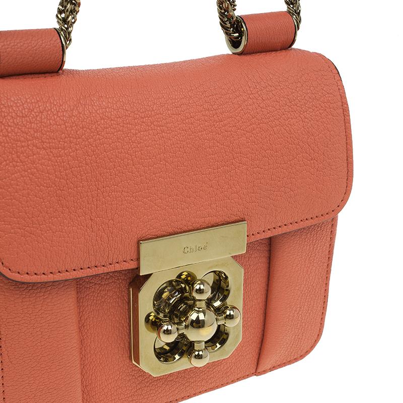 Chloe Peach Leather Mini Elsie Crossbody Bag